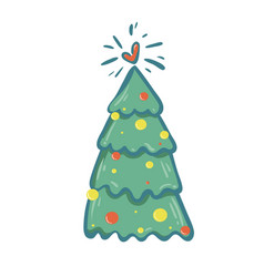 christmas tree on a white vector image