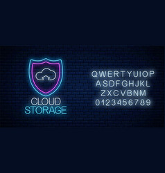 cloud storage service glowing neon sign with vector image