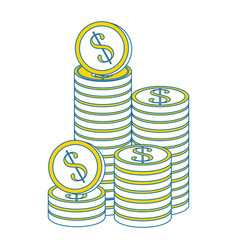 Coins piled up vector