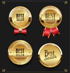 collection of elegant golden premium best seller vector image