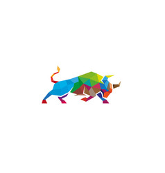 colorful geometric bull logo vector image