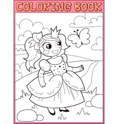 coloring book little princess on meadow vector image
