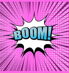 comic boom wording pink background vector image