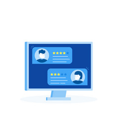 Computer with customer review rating messages vector