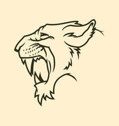 Cougar or panther head silhouette vector