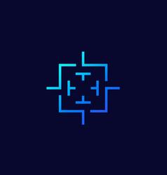 crosshair square target logo vector image