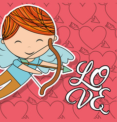 cupid boy with bow and arrow love card vector image