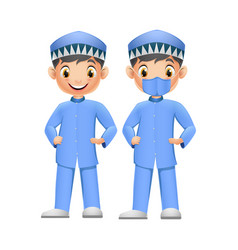 Cute two boys in blue muslim clothes with face mas vector