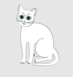cute white cat isolated cartoon on light gray vector image