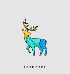 deer pose template vector image