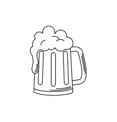 Drinks beer mug glass with foam alcohol line style vector
