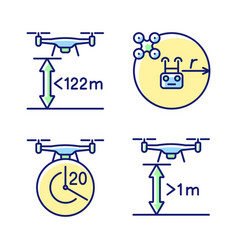 Drone proper control rgb color manual label icons vector