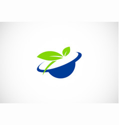 ecology green leaf logo vector image