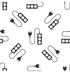 electric extension cord icon seamless pattern vector image