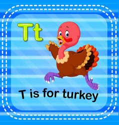 Flashcard letter t is for turkey vector