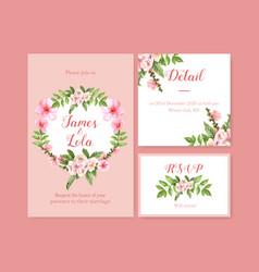 Flower garden wedding card design with magnolia vector