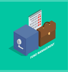 Fund management in cartoon style flat art design vector