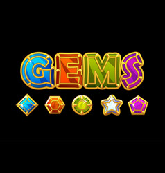 Gems logo and icons jewerls stones different vector