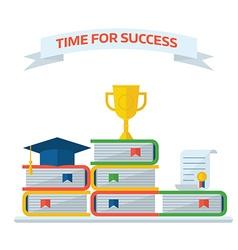 Graduation Awards Book Steps Pedestal Concept vector