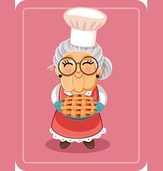 Grandma holding homemade pie vector