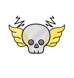 grated skull with wings rock art symbol vector image