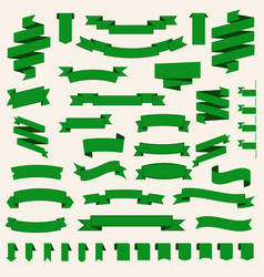 green ribbons set banner templates vector image