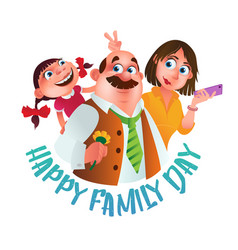 greeting card or poster to happy family day of vector image