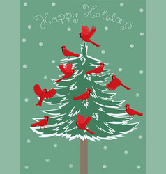 Greeting card with birds red cardinal sitting on vector