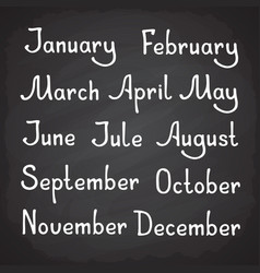 hand drawn lettering lettering calendar months vector image
