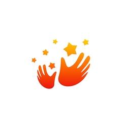 Hand slap star party happy logo vector