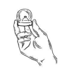 hands precious ring engraving vector image
