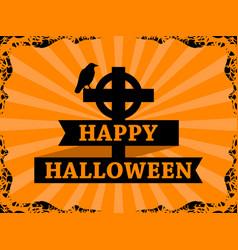 happy halloween october 31st raven on the cross vector image