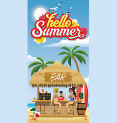 hello summer flyer with beach bar vector image