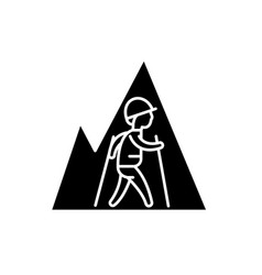 hiking travel black icon sign on isolated vector image