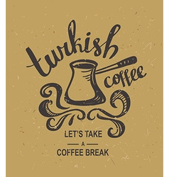 Hipster Vintage Stylized Lettering with turkish vector image