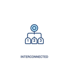 Interconnected concept 2 colored icon simple line vector