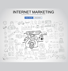 Internet marketing concept with business doodle vector