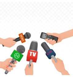 Interview news microphones and voice recorder in vector
