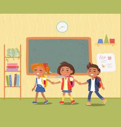 Kids with satchels in classroom pupils in school vector
