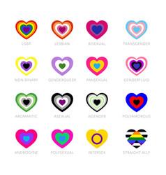 Lgbtq pride flags set lgbt symbols vector