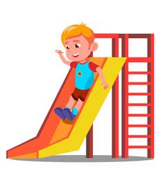 little boy having fun on the slide vector image