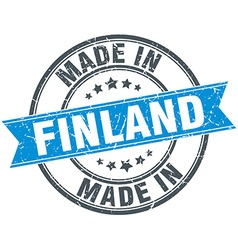 made in Finland blue round vintage stamp vector image