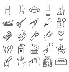 Manicure and pedicure signs black thin line icon vector