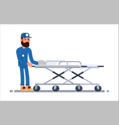 medical staff carrying stretcher vector image