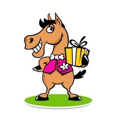 Merry horse with a gift logo vector