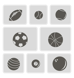 Monochrome icons with sports balls vector