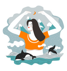 mother nature female character as guardian sea vector image