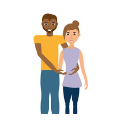 Multiethnic couple romantic image vector
