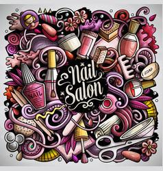 nail salon hand drawn doodles vector image