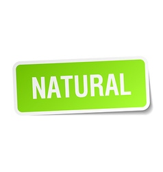Natural green square sticker on white background vector